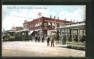 AK Coffeyville, KS, Corner 8th and Walnut Streets, Strassenbahn
