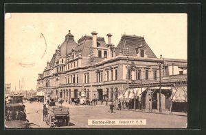 AK Buenos-Aires, Estacion F.C.S., Bahnhof