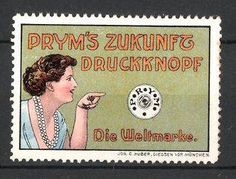 Reklamemarke Prym's Druckknopf, Frau mit Druckknopf