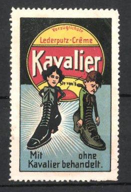 Reklamemarke Kavalier Lederputz-Creme, Schuhe