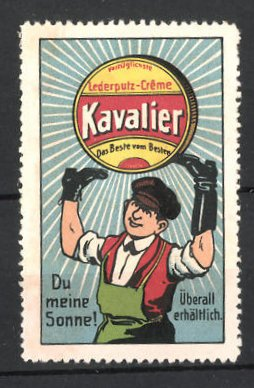 Reklamemarke Kavalier Lederputz-Creme, Schuhmacher