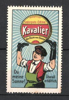 Reklamemarke Kavalier Lederputz-Creme, Schuster