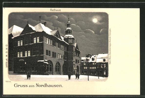 Winter-Lithographie Nordhausen, Rathaus im Mondschein