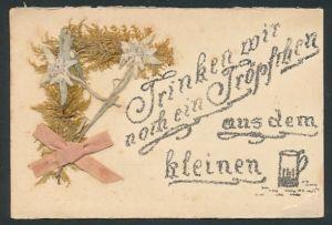 Trockenblumen-AK Aufgeklebte Edelweissblüten & Glitzerschift: