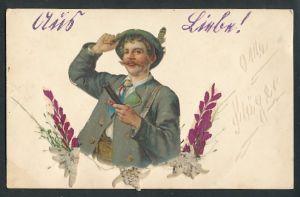 Oblaten-AK Jäger mit Gewehr & aufgeklebten Blumen