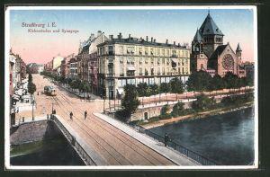 AK Strassburg i. E., Kleberstaden und Synagoge