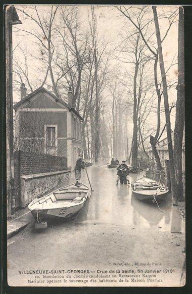 AK Villeneuve-Saint-Georges, Crue de la Seine, fin Janvier 1910