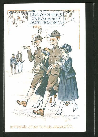 Künstler-AK Les Sammies de nos Amies sont nos Amis, britische Soldaten mit jungen Französinnen