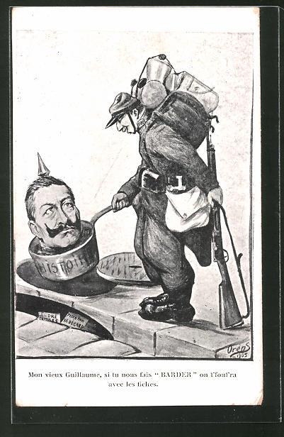 Künstler-AK Charles Denizard (Orens): Mon vieux Guillaume..., Karikatur des deutschen Kaisers