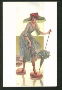 Künstler-AK junge Dame mit Schirm und Hut überquert Bach