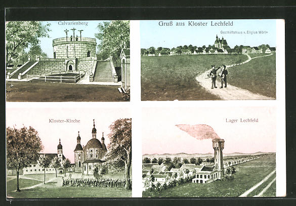 AK Kloster Lechfeld, Calvarienberg, Kloster-Kirche, Lager Lechfeld