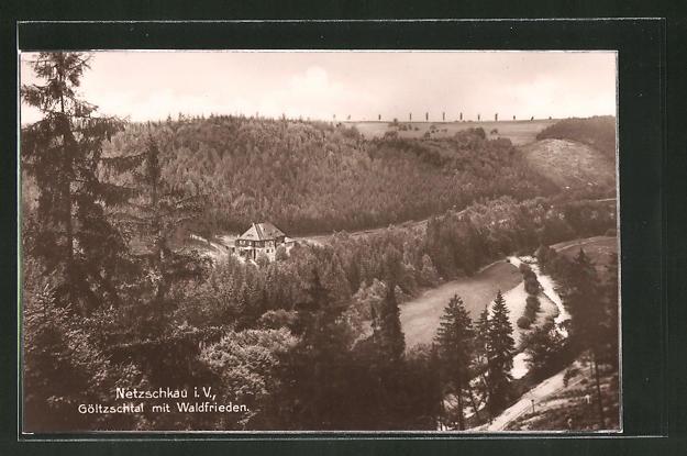AK Netzschkau i. V., Göltzschtal mit Gasthaus Waldfrieden aus der Vogelschau