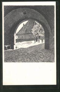 Künstler-AK Tübingen, Blick durch das Schlossportal