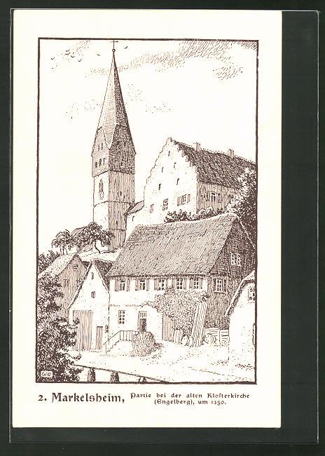Künstler-AK Markelsheim, Partie bei der alten Klosterkirche um 1350