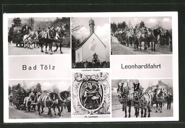 AK Bad Tölz, Leonhardifahrt mit Kapelle & Pferdewagen