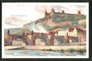 Künstler-AK Karl Mutter: Würzburg, Panorama