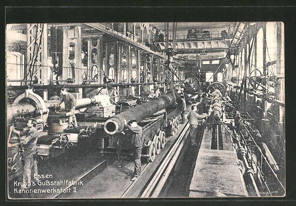 AK Essen, Krupp's Gussstahlfabrik mit Kanonenwerkstatt II., Fabrikarbeiter