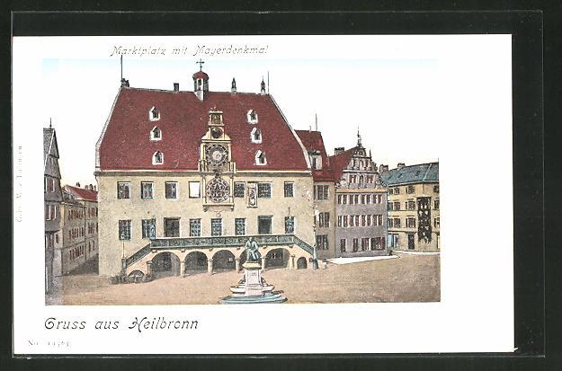 Goldfenster-AK Heilbronn, Marktplatz und Mayerdenkmal mit leuchtenden Fenstern