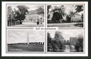 AK Grossstorkwitz, Ortsansicht mit Gasthof, Radio-Sender Wiederau, Schule & Kunstmühle
