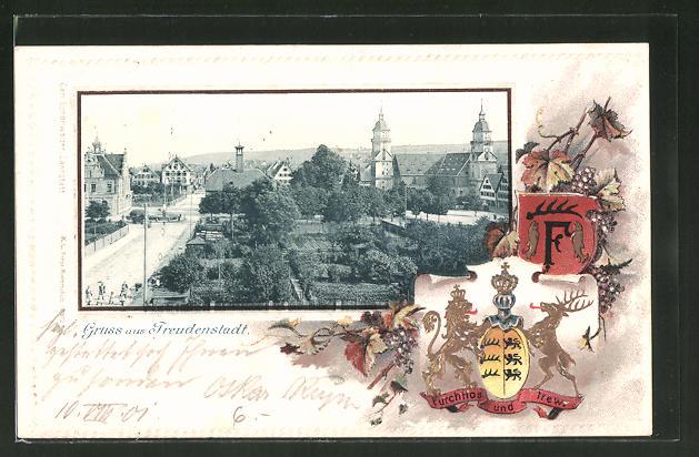 Passepartout-Lithographie Freudenstadt, Totalansicht und Wappen