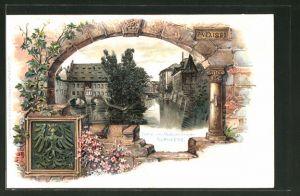 Passepartout-Lithographie Nürnberg, Partie an der Museumsbrücke