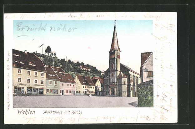 Goldfenster-AK Wehlen, Marktplatz mit Kirche, Gebäude mit leuchtenden Fenstern