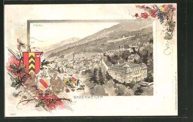 Passepartout-Lithographie Badenweiler, Gesamtansicht & Wappen