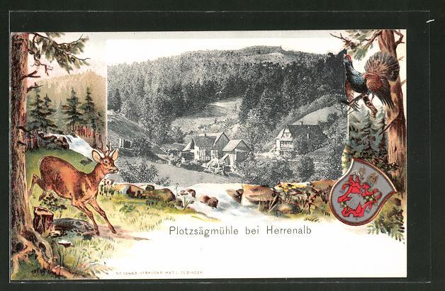 Passepartout-Lithographie Herrenalb, Blick zur Plotzsägmühle, Wappen