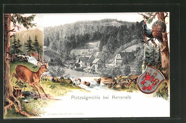 Passepartout-Lithographie Herrenalb, Partie an der Plotzsägmühle, Wappen