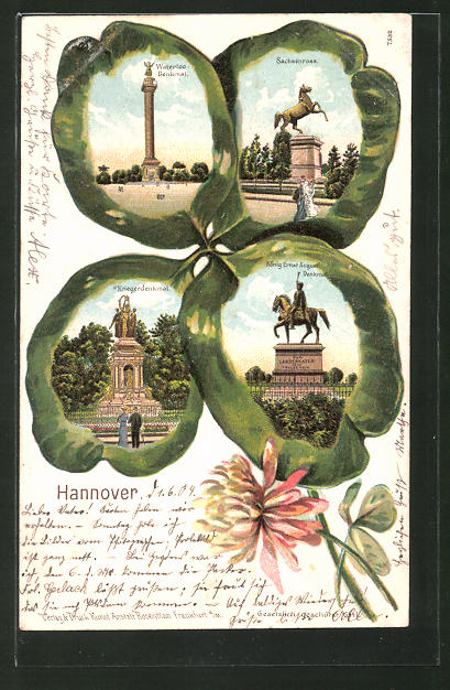 Passepartout-Lithographie Hannover, Waterloo Denkmal, Sachsenross, Kriegerdenkmal, König Ernst August Denkmal