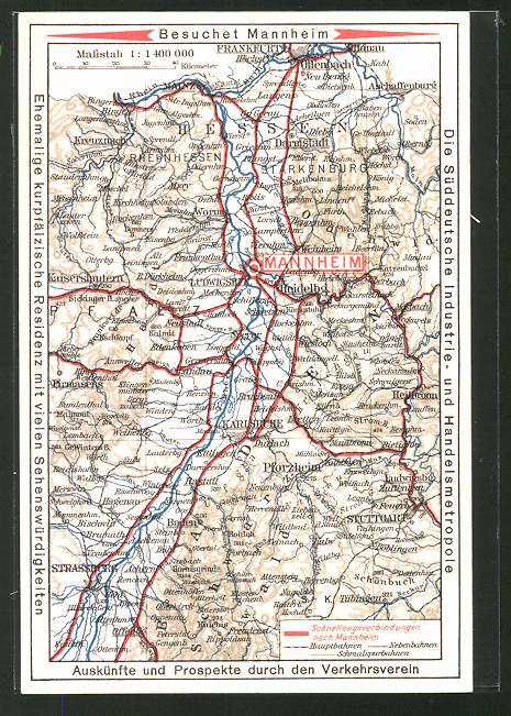 AK Mannheim, Landkarte der Region um die Stadt