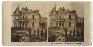Stereo-Fotografie Fotograf und Ort unbekannt, Ansicht Hollebeke, zerstörtes Schloss