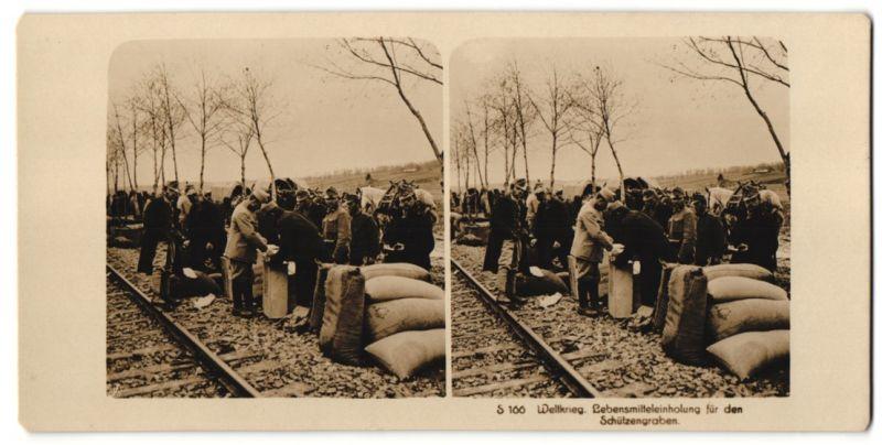 Stereo-Fotografie Fotograf und Ort unbekannt, Lebensmitteleinholung für den Schützengraben