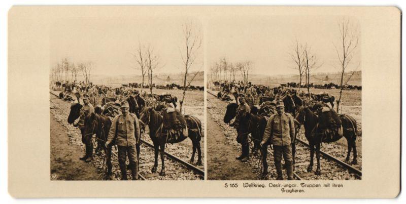 Stereo-Fotografie Fotograf und Ort unbekannt, Österr.-ungar. Truppen mit ihren Tragtieren