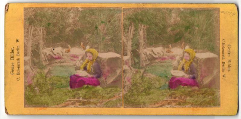 Stereo-Fotografie C. Eckenrath, Berlin W., Portrait Mädchen und Tiere des Waldes
