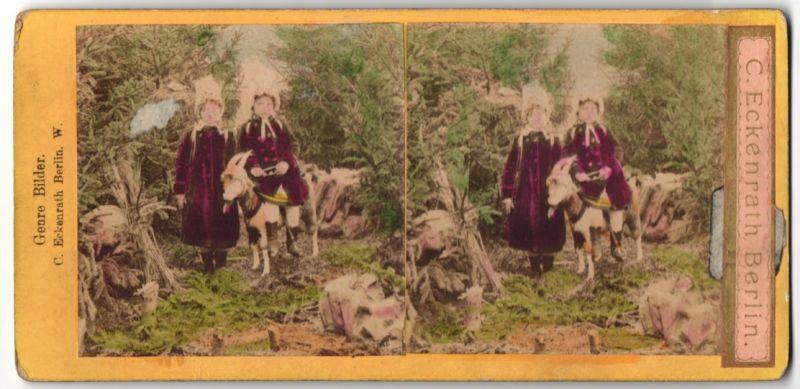 Stereo-Fotografie C. Eckenrath, Berlin W., Portrait Mädchen im Wald mit Ziege