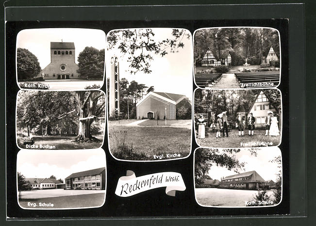 AK Reckenfeld / Westf. Kath. Kirche, Dicke Buchen, Evg. Schule