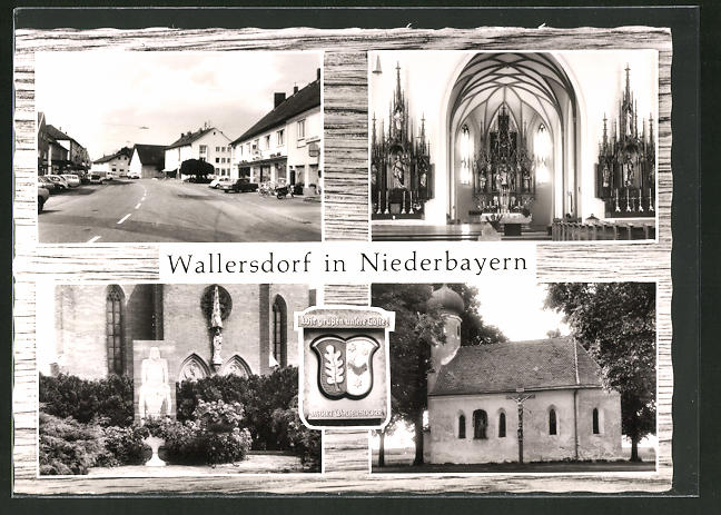 AK Wallersdorf / Niederbayern, Kirche, Aussen- und Innenansicht, Strassenansicht