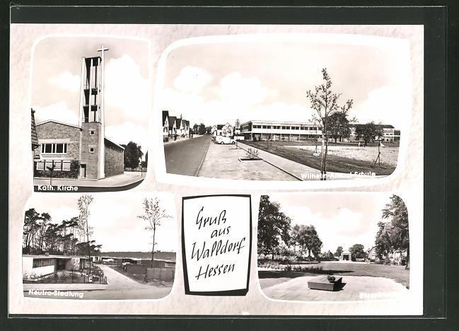 AK Walldorf / Hessen, kath. Kirche, Wilhelm-Arnoul-Schule, Ehrenfriedhof, Neutra-Siedlung