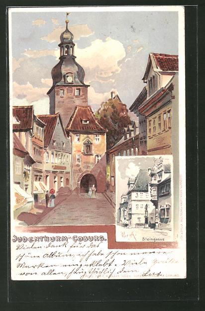 Lithographie Coburg, Partie am Judenturm und Steingasse