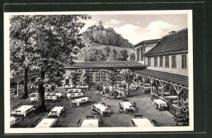 AK Bad Blankenburg, Hotel Goldener Löwe mit Gartenwirtschaft