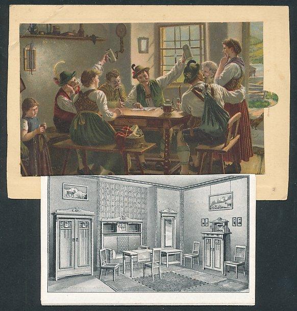 Leporello-AK A. Damitt, Berlin, Einzel-Möbel und Polsterwaren, Gasthausszene