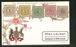 AK Die ersten Briefmarken von Würtemberg