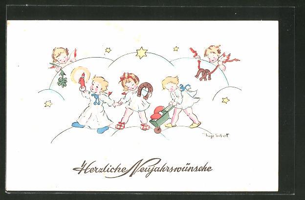 Künstler-AK Inge Schott: Neujahrswünsche, Engel mit Glücksbringern