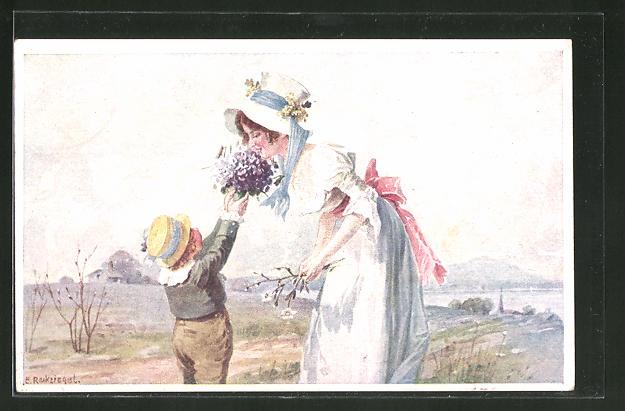 Künstler-AK E. Reckziegel: Knabe hat einen Blumenstrauss für seine Mutter gepflückt