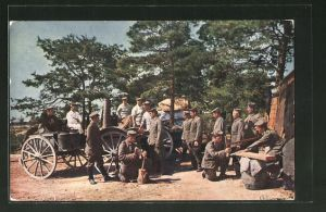 AK Soldaten mit Feldküche in der Champagne