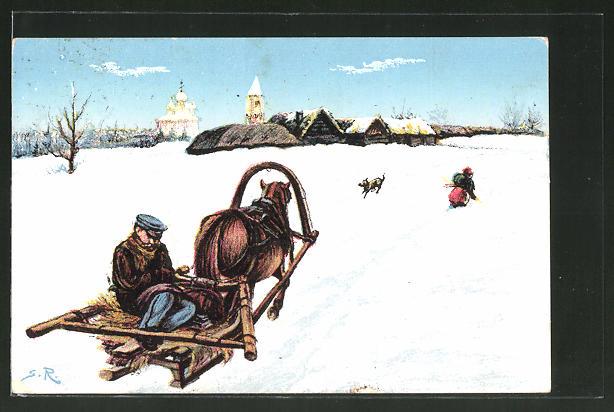 AK Russischer Bauer auf seinem Pferdeschlitten