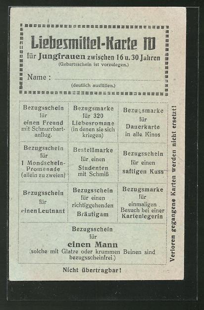 AK Liebesmittel-Karte für Jungfrauen zwischen 16 und 30, Soldatenhumor