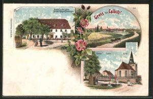 Lithographie Calbitz, Gasthaus zu drei Lilien, Ortsansicht, Pfarrhaus, Schule, Kirche