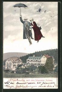 AK Zellerfeld i. H., Fliegende Menschen über dem Johanneser Kurhaus
